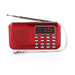 GES NET Mini Digital AM FM LCD Radio Speaker, Micro SD/TF USB Disk Speaker MP3 Music Player Stereo, Portable Pocket Novelty Radio Receiver, Handheld Radio (red)