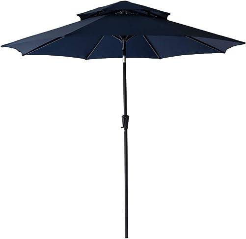 C-Hopetree 9 ft Double Top Outdoor Patio Market Umbrella with Tilt – Navy Blue