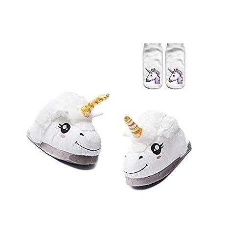Zapatillas Unicornio Mujer Invierno Encantador Antideslizante Para Todo el Mundo