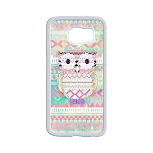 Diy Colorful Cute Aztec Owl Custom Cover Phone Case for samsung galaxy s6 White Shell Phone [Pattern-3]