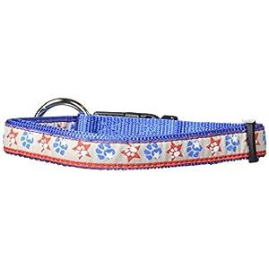 "Hamilton 5/8"" x 12""-18"" Adjustable Dog Collar with Patriotic Paws Pattern Ribbon Overlay, Small"