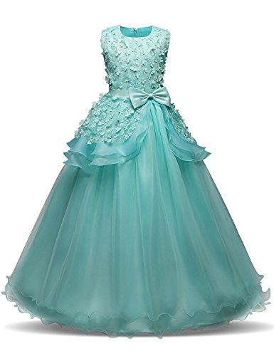 (Little Big Girls' Tulle Lace Gauze Flower Bowknot Formal Party Fall Wedding Bridesmaid Dress Special Birthday Prom Gowns 7-16T Turquoise 15-16)
