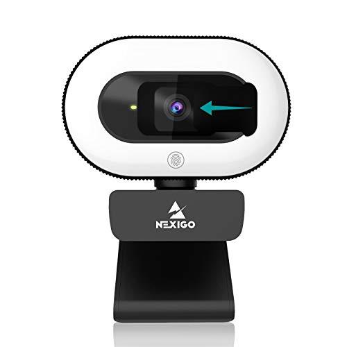 2021 NexiGo StreamCam N930E 1080P Webcam with Ring Light and Privacy Cover Auto Focus Plug and Plug and play