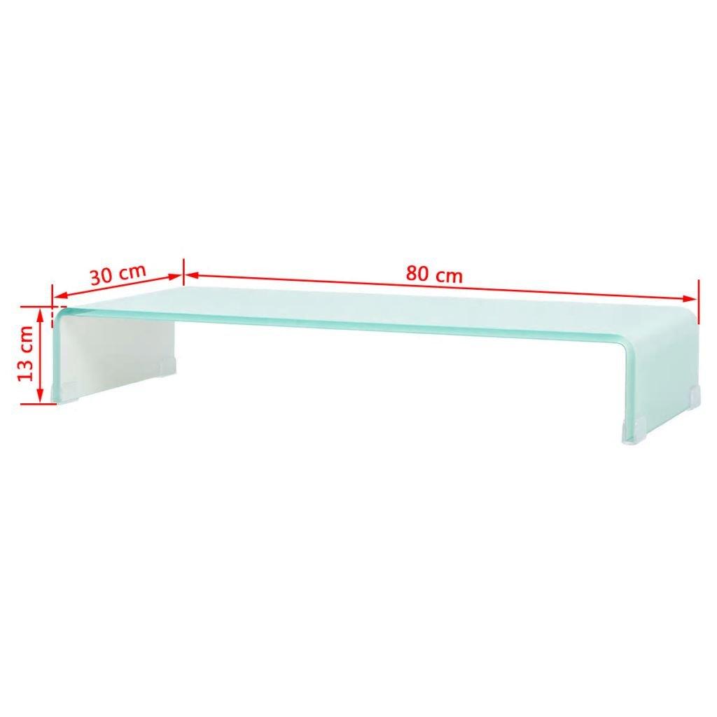 vidaXL Mobile Porta TV 60x25x11 cm Trasparente Mobiletto Supporto Rialzo Vetro