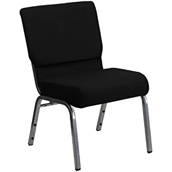 Flash Furniture HERCULES Series 21''W Stacking Church Chair in Black Fabric - Silver Vein Frame