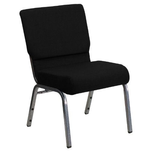 Flash Furniture HERCULES Series 21''W Stacking Church Chair in Black Fabric - Silver Vein - Chairs Wholesale Church
