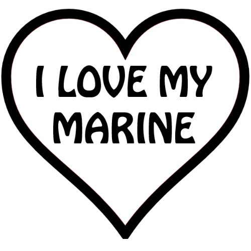 I Heart My Marine, In A Heart , Vinyl Car Decal, 'Pink', '15-by-15 inches'