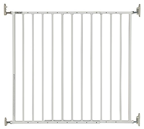 Storkcraft Easy Walk-Thru Metal Safety Gate, White, 29-inch Tall Safety Gate for Baby Dog Cat or Other Pets, One-Hand Quick-Release Lock, Adjustable Width 28.3-45.98 Inches from Stork Craft