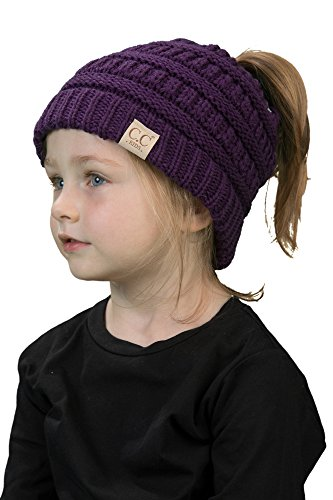 - BT2-3847-40 Kids Messy Bun Ponytail Winter Knit Hat Girls Beanie Tail - Purple