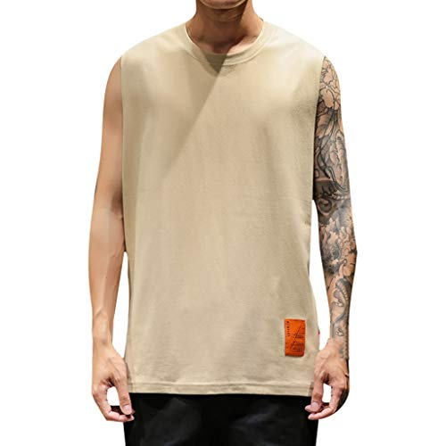 - Men's Workout Tank Tops Muscle Cut Off T Shirt Sleeveless Gym Tech T-Shirt Big & Tall Heavyweight Solid Tee by Lowprofile Beige
