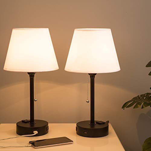 Lifeholder Bedside Lamps, Table Lamp with Useful Dual USB Ports & A Power Outlet, Minimalist White Shade USB Nightstand…