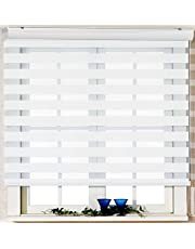 Custom Cut to Size, [Winsharp Basic, White, W 33 x H 55 inch] Zebra Roller Blinds, Dual Layer Shades, Sheer or Privacy Light Control, Day and Night Window Drapes, 20 to 110 inch Wide