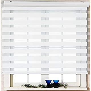 Custom Cut to Size, [Winsharp Basic, white, W 23 x H 64 inch] Zebra Roller Blinds, Dual Layer Shades, Sheer or Privacy Light Control, Day and Night Window Drapes, 20 to 110 inch wide
