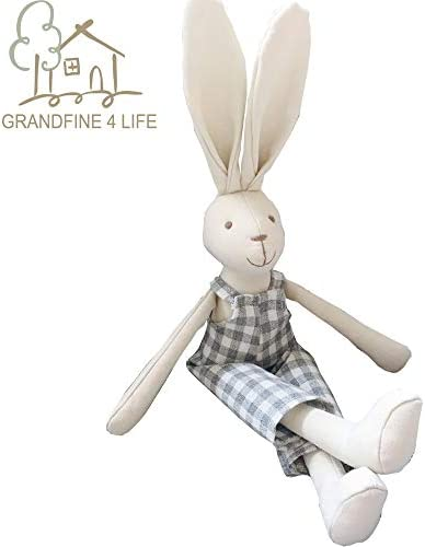 Luxury handmade Bunny Boy Fabric DollEcofriendly Cotton Linen Rabbit Stuffed Animal Soft ToysRemovable Cloth Birthday Gift For ChildBaby Appease Doll Fashion Home Accessories 32cm