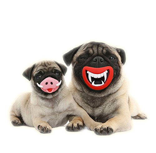 Columbus Halloween - Elite Funny Pet Dog Devil Teeth&Pig Nose Soft Silicon Toy Puppy Chew Squeak Novelty Dogs Halloween Play Toys|3.46 inch x 3.03inch (Devil Teeth)