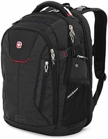 """SwissGear 5358 USB ScanSmart Laptop Backpack. Abrasion-Resistant & Travel-Friendly Laptop Backpack (18"""", Black/Red)."""