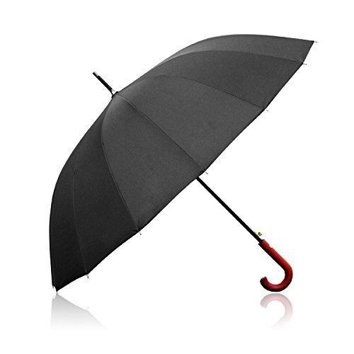 Lavievert 54 Zoll automatische eröffnene Regenschirm,klasische lange Regenschirm mit 16 Faserstützen und Rundhakengriff,Sandstrand Regenschirm,Unisex Regenschirm(Schwarz)