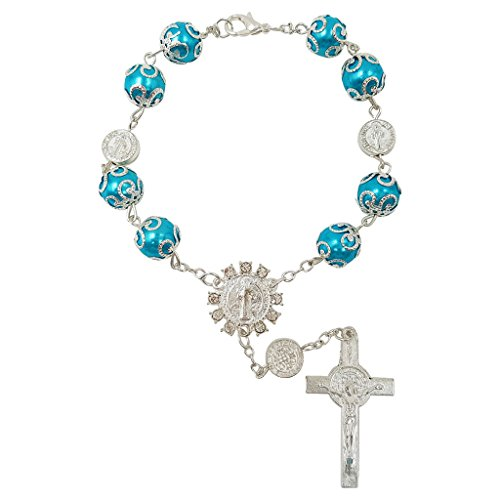 Talisman4U One Decade Auto Rosary Beads Catholic Bracelet St Benedict Medal Crucifix Divine Mercy Centerpiece Holy Land Gift (Blue)