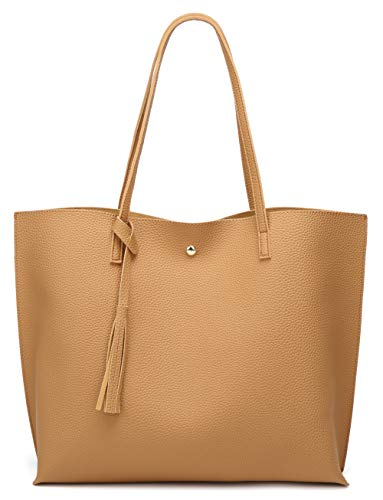 Women's Soft Faux Leather Tote Shoulder Bag from Dreubea, Big Capacity Tassel Handbag Yellowish Brown (The Best Leather Bags)