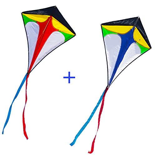 Besra 2Pcs 29inch Diamond Kites with Long Tails Lovely Twins Kite with 2 Handle and Strings Outdoor Fun Sports for Beach Park (Red & - Pattern 26in Diamond