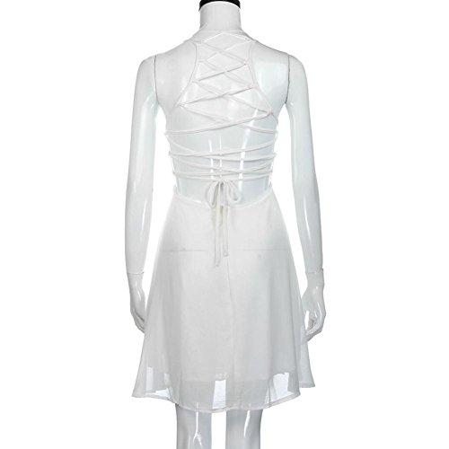 Parti D'été Et Confortable Mini Sans Robe Robes Adeshop Blanc Backless Été Manches Bandage Femmes Élégante WHxvz1