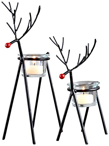 (Rustic Iron Reindeer Tealight Holders by San Miguel -)