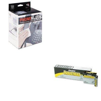 KITEVEEN91REARR1303 - Value Kit - Read Right PhoneKleen Wet Wipes (REARR1303) and Energizer Industrial Alkaline Batteries (EVEEN91) (Phonekleen Wet Wipes)