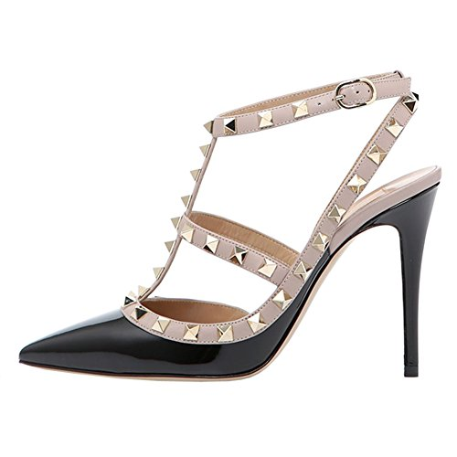 (June in Love Womens Heels Strappy Sandals Rivets Studs Middle Thin Heels Sexy Sandals Black US8)