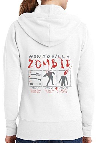 Womens How To Kill Zombie Full Zip Hoodie, White, 4X