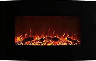Neptune 35 Inch Curved Black Wall Mounted Electric Fireplace
