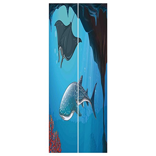 (3d Door Wall Mural Wallpaper Stickers [ Sea Animal Decor,Shark Deep Water Stingray with Coral Reefs Algae Rocky Cave Exotic Cartoon,Blue Grey ] Mural Door Wall Stickers Wallpaper Mural DIY Home Decor)