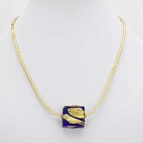 GlassOfVenice Murano Glass Royal Blue Square Necklace