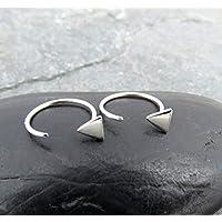 Tiny Triangle Earrings - 4mm Triangle Stud Earrings - Ear Huggies