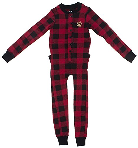 Plaid Bear Cheeks Flapjacks Adult Flapjack Onsie Pajamas by LazyOne | Adult Kid Infant Dog Family Matching Pajamas (Small)]()