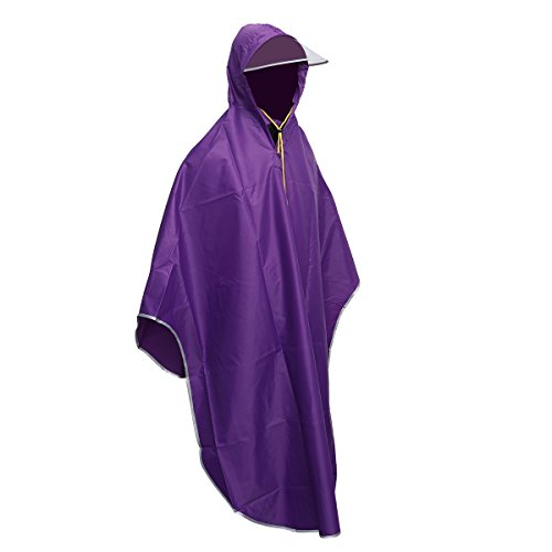 Poncho Transparent Vorcool Bicycle Hooded Outdoors Purple 1fwwqSxdU