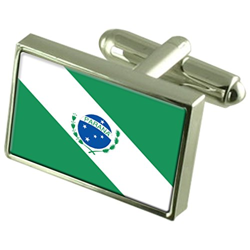 Paraná Sterling Silver Flag Cufflinks in Engraved Personalised Box by Select Gifts