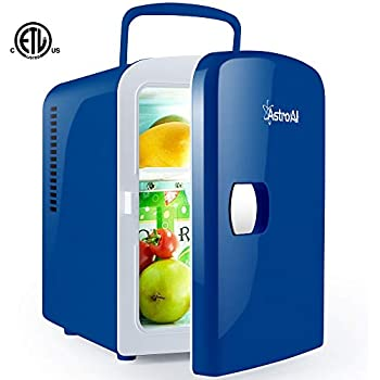 AstroAI Mini Fridge 4 Liter/6 Can Portable AC/DC Powered Thermoelectric System Cooler and Warmer for Cars, Homes, Offices, and Dorms,Blue