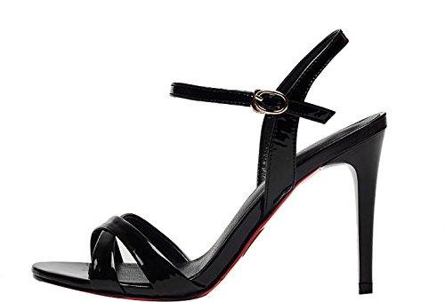 Calaier Donna Catxac Open-toe 7cm Sandali Stiletto Con Fibbia Nero