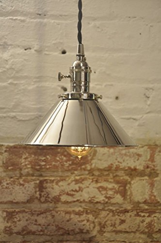 - Polished Nickel Cone Shade Industrial Pendant Light