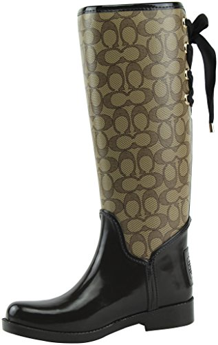 Coach Womens Tristee Outline Rain Boot Khaki/Chestnut Size 8