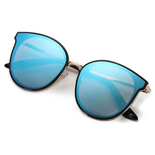 Mirrored femmes de Lunettes d'été soleil plein air Bleu Retro Lunettes Vintage de xwqICX