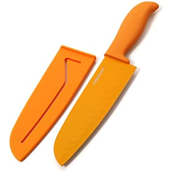 Farberware Resin Santoku Knife with Sheath, 7-Inch, Orange
