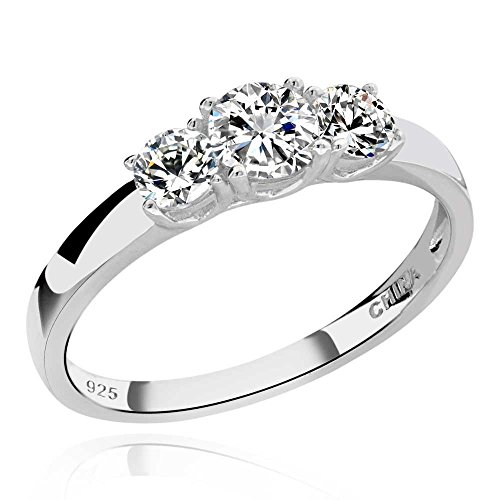 GemsChest 925 Sterling Silver Round Cubic Zirconia 3-Stone Ring Wedding Jewelry Hola CZ Bridal Ring for Women