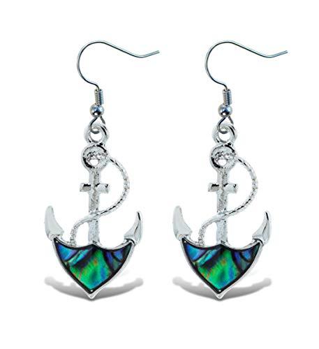 Aqua 79 Abalone Paua Shell Earring, Dangle Hook Ocean Silver Jewelry - Anchor