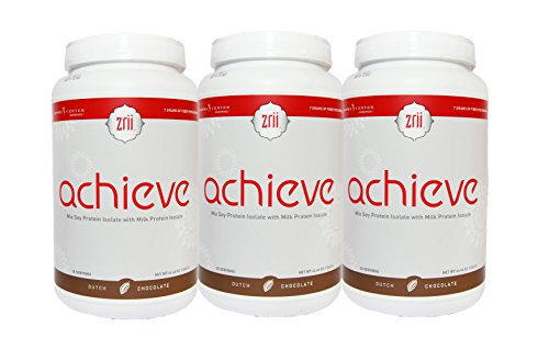 3x Zrii ACHIEVE Mix Soy Protein Isolate with Milk Protein Isolate Dutch Chocolate 44.46 ounce