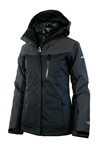 Columbia Women's Superpipe Slope 3 in 1 interchange Winter Omni Heat 650 DOWN Ski Jacket (S, Black)