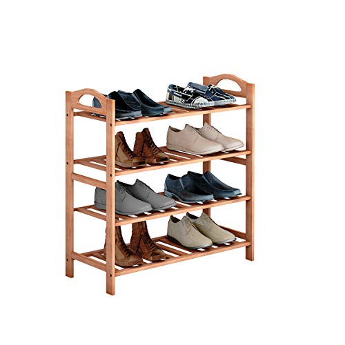 COSTWAY 4-Tier Bamboo Shoe Organizer Rack, Multifunctional Shoe Tower Storage Cabinet Utility Free Standing, Wood Shelf for Plant Flower Display, Stand Home Entryway Hallway Bathroom Furniture (Custom Made Cabinet Doors And Drawer Fronts)