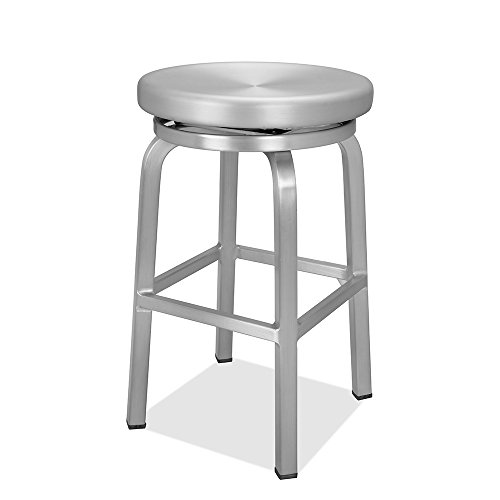 CHAIR DEPOTS Atlantic Aluminum Swivel Backless Counter Stool, Brushed Aluminum Finish (No Bar Swivel Stools)