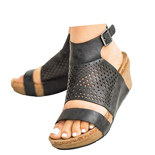 Veodhekai Womens Platform Wedges Sandals Open Toe High Heel Wedge Sandals Hollow Out Sandals Roman Shoes Black
