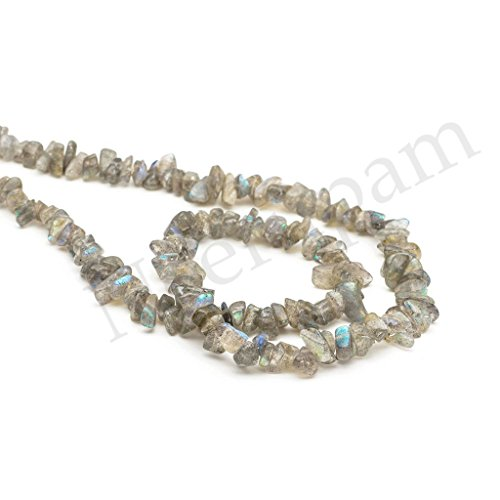 Neerupam collection Grey with Blue Flash Color Natural African Labradorite Gemstone Uncut Chip Beads 10 Lines Loose 33 inch Strand